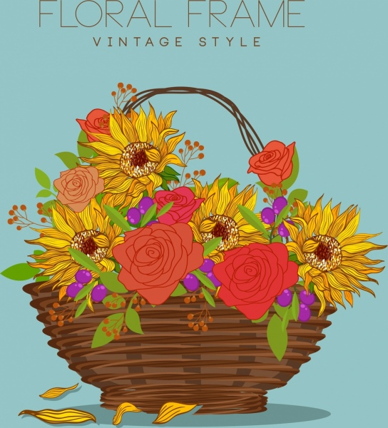 544x600 Decorative Flowers Basket Drawing Multicolored Handdrawn Sketch
