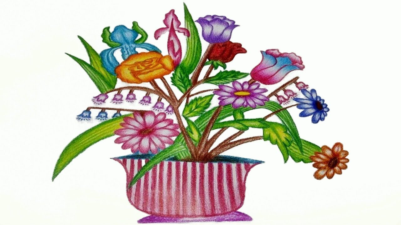 Basket Of Flowers Drawing at GetDrawings.com | Free for personal use ...