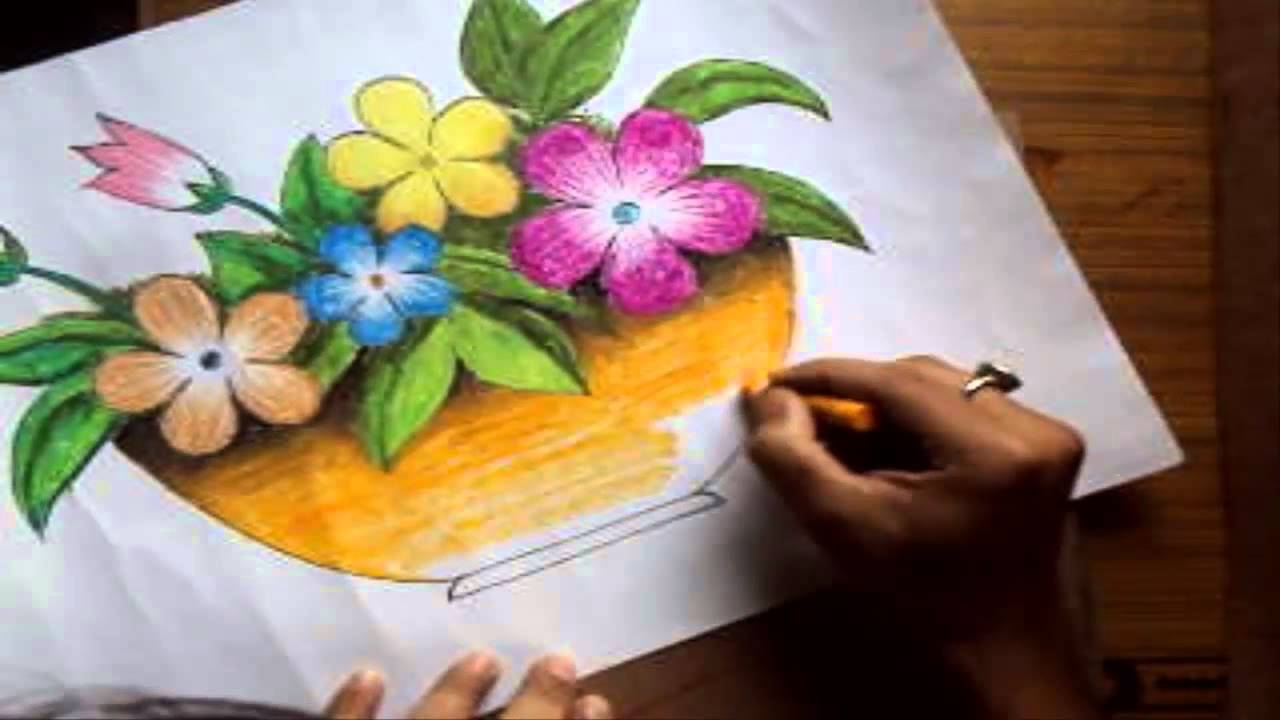 1280x720 How To Draw A Flower Vase With Oil Pastel [Long Version]