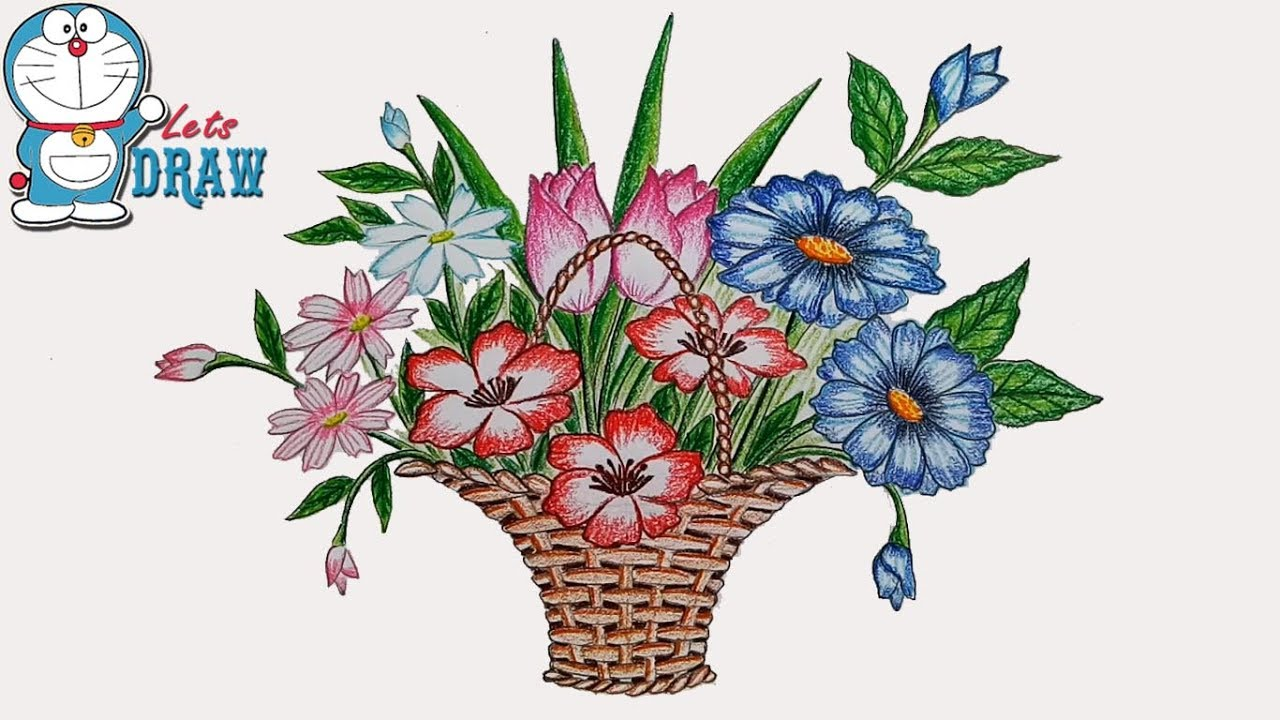 1280x720 How To Draw Flower Basket Step By Step