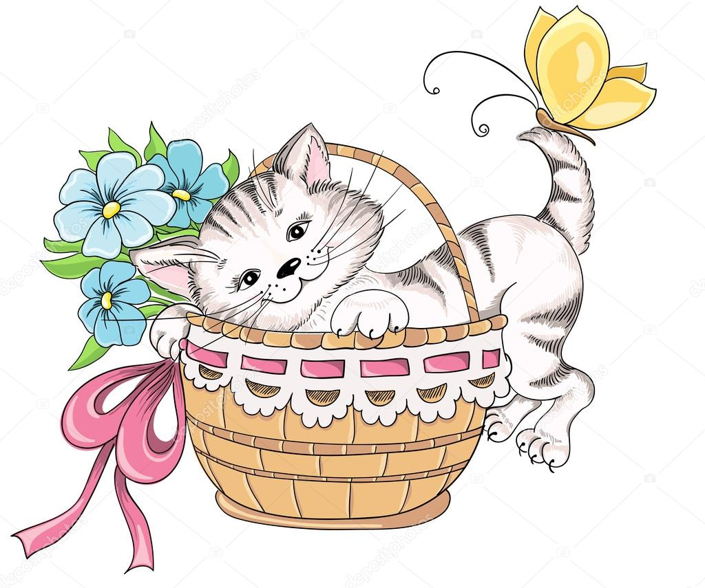 1024x855 Kitty And Bouquet Of Flowers In Basket. Vector Hand Drawing