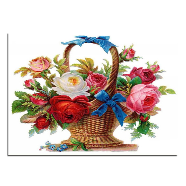 640x640 Rose Flower Basket 70x50cm Cross Stitch Diy Full Diamond Drawing