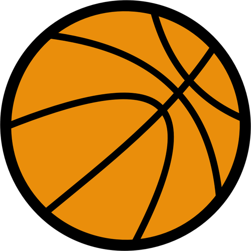 500x500 Basketball Ball Vector Drawing With Thick Border Public Domain