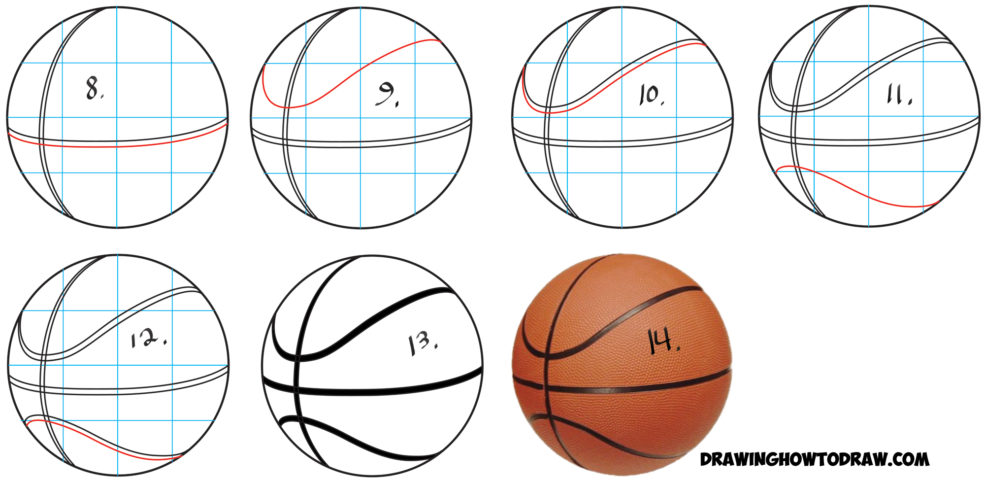 2000x978 How To Draw A Basketball In Easy Step By Step Drawing Tutorial