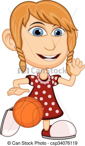 276x470 Girl Playing Basketball Cartoon