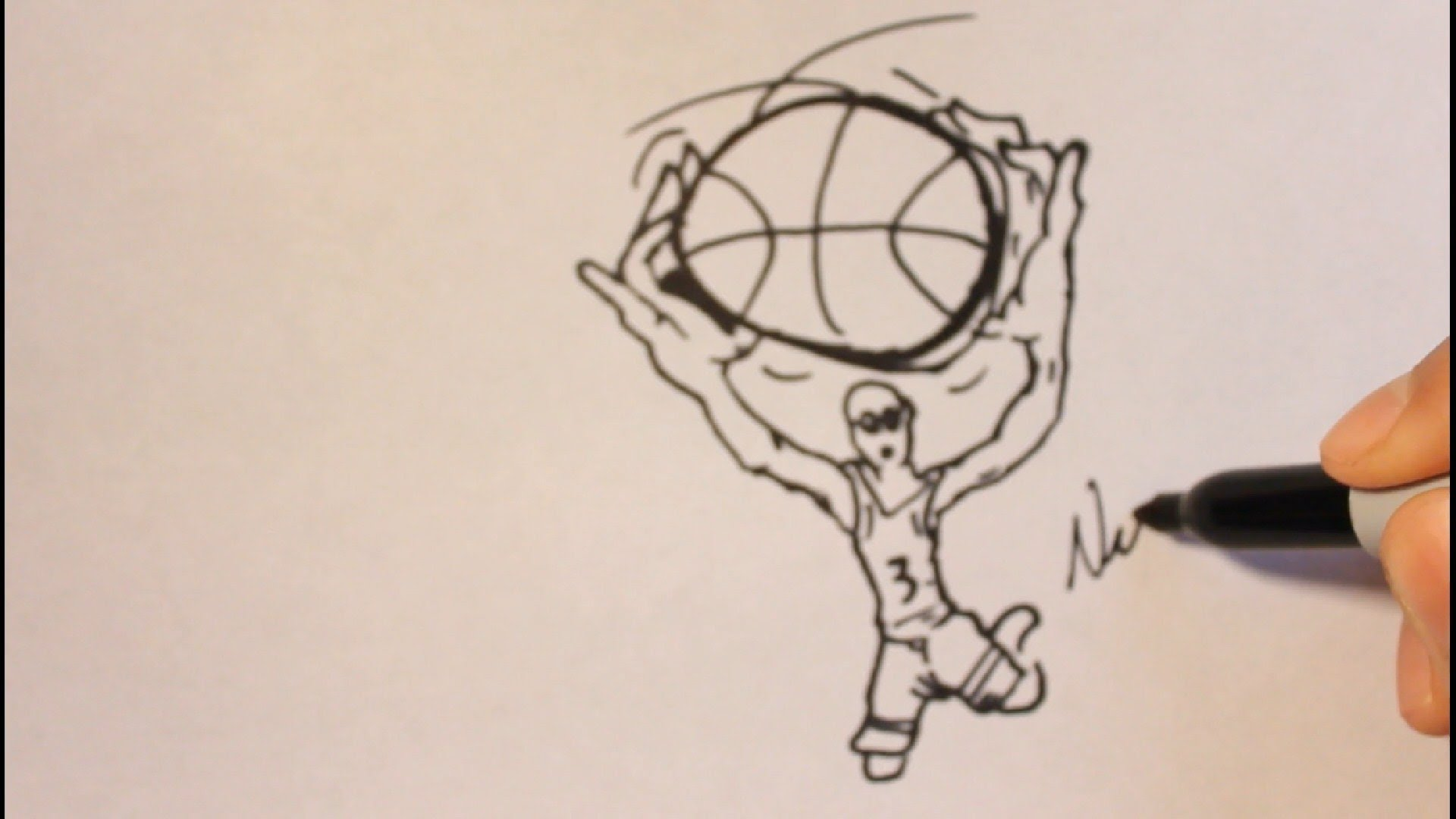 1920x1080 How To Draw A Cartoon Basketball Player Step By Step Easy Tutorial
