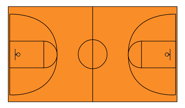 Basketball court drawing at free for for Outdoor basketball court template