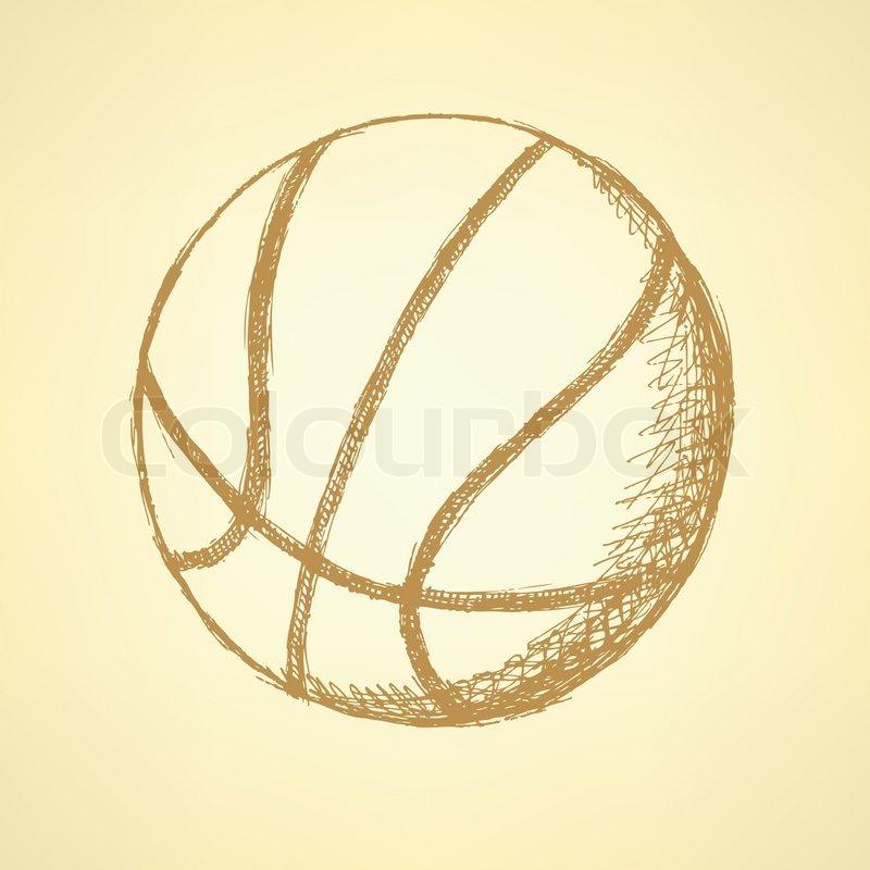 800x800 Sketch Basketball Ball, Vector Vintage Background Eps 10 Stock