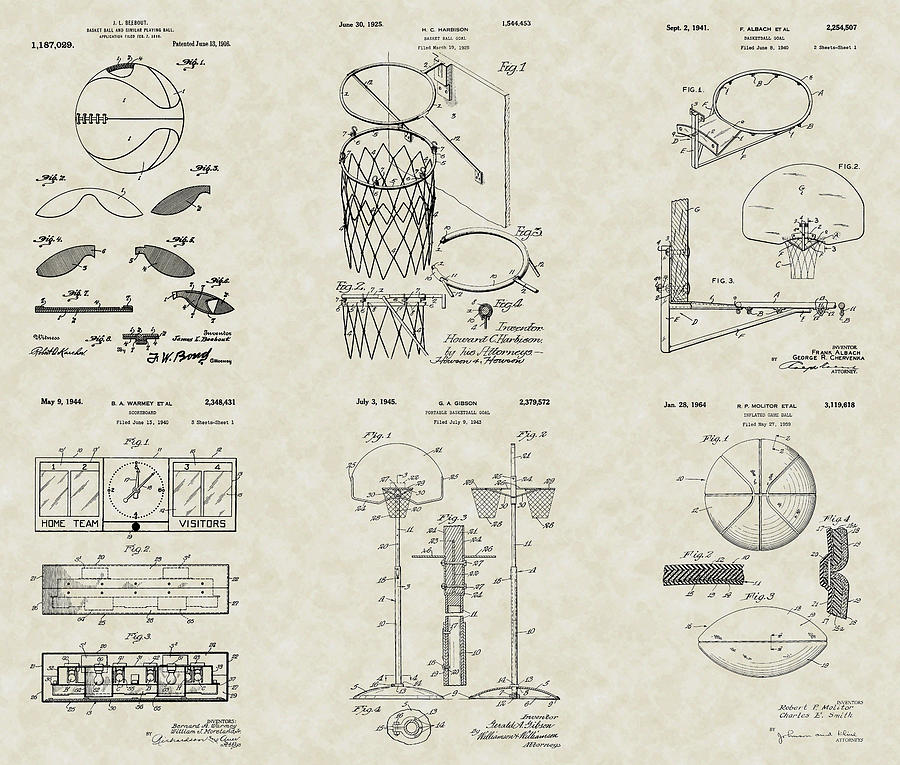 900x765 Basketball Equipment Patent Collection Drawing By Patentsasart