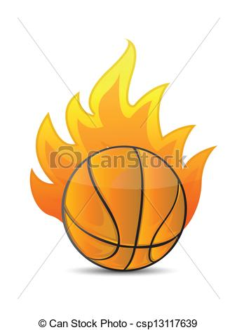 338x470 Basketball Ball In Fire Illustration Design Over A White