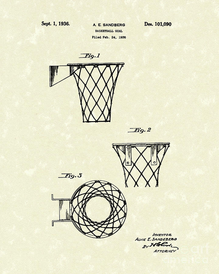 720x900 Basketball Hoop 1936 Patent Art Drawing By Prior Art Design