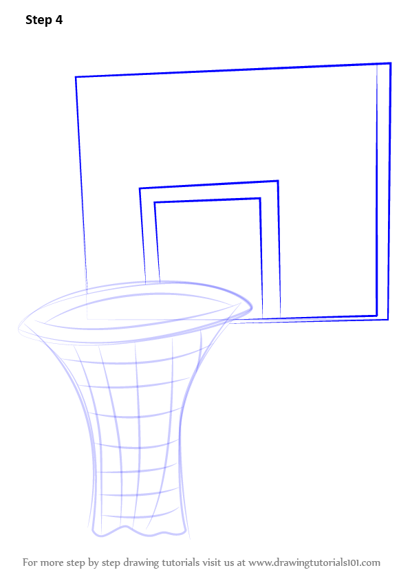 596x842 Learn How To Draw Basketball Hoop (Other Sports) Step By Step