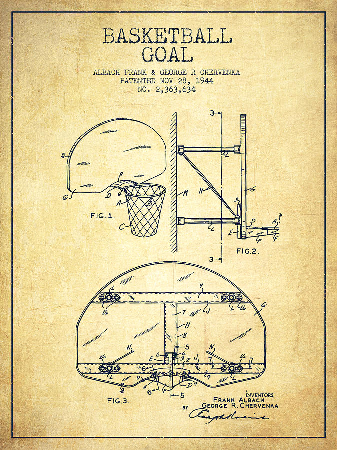 675x900 Vintage Basketball Goal Patent From 1944 Drawing By Aged Pixel