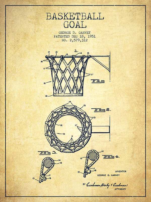 600x800 Vintage Basketball Goal Patent From 1951 Poster By Aged Pixel