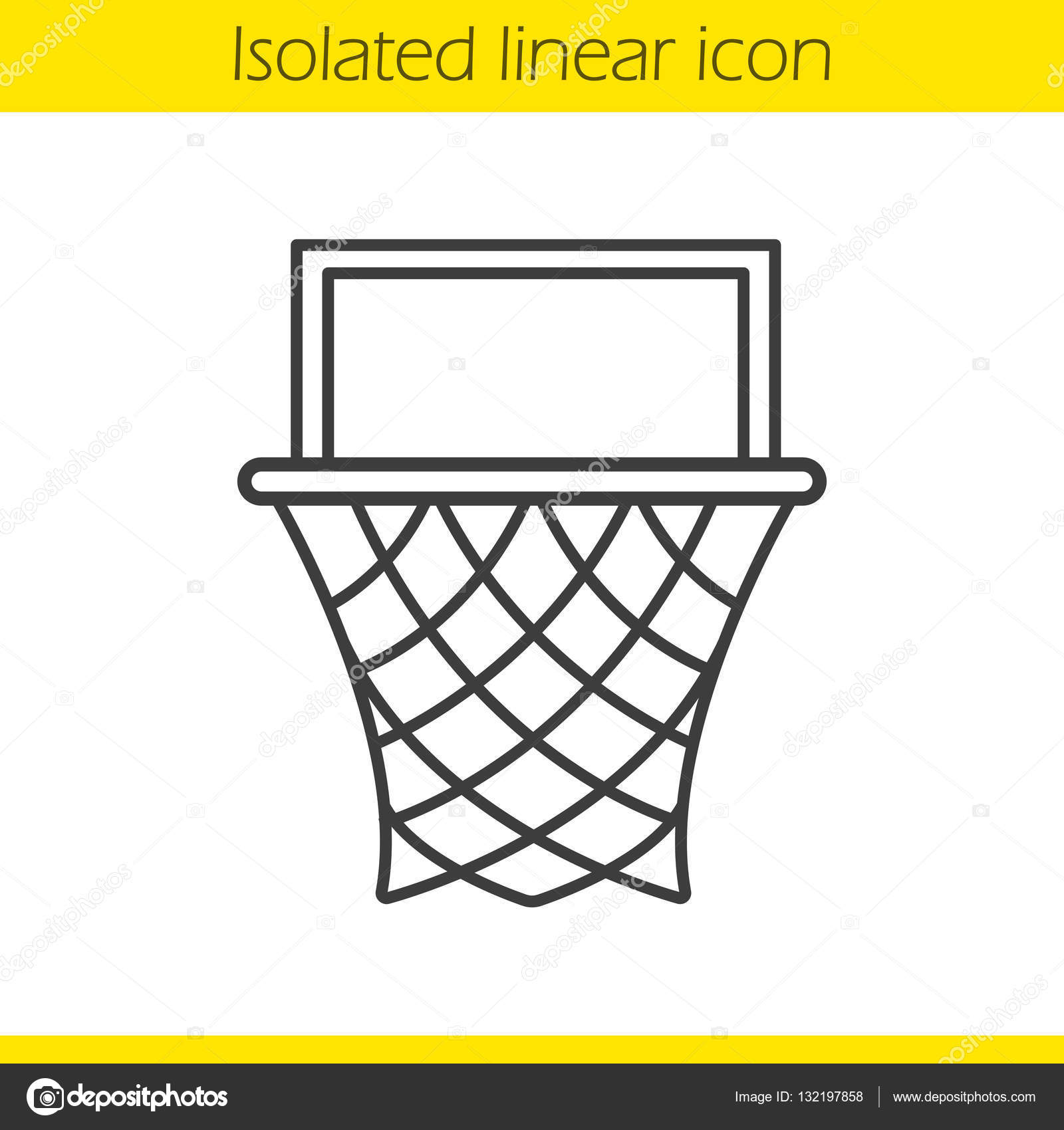 1600x1700 Basketball Hoop Linear Icon Stock Vector Bsd