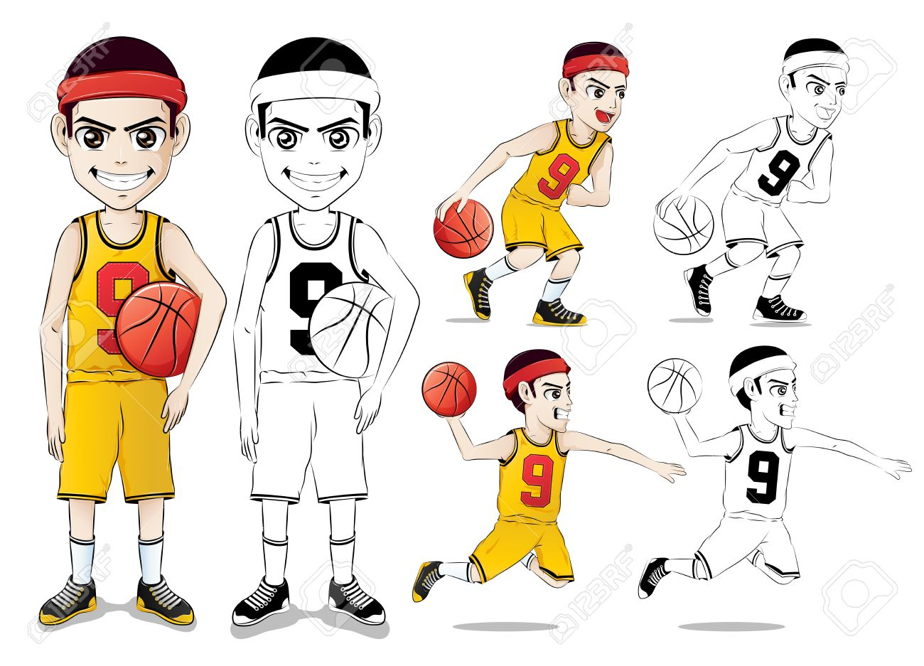 1300x937 Basketball Player Vector Character Set With Line Drawing Version
