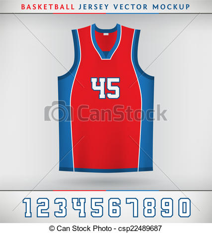 427x470 Realistic Vector Mock Up Of Basketball Jersey With Numbers Vector
