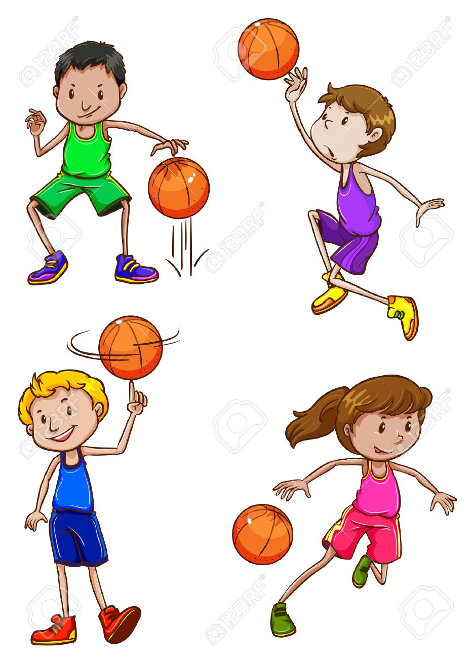 930x1300 A Simple Drawing Of The Basketball Players On A White Background