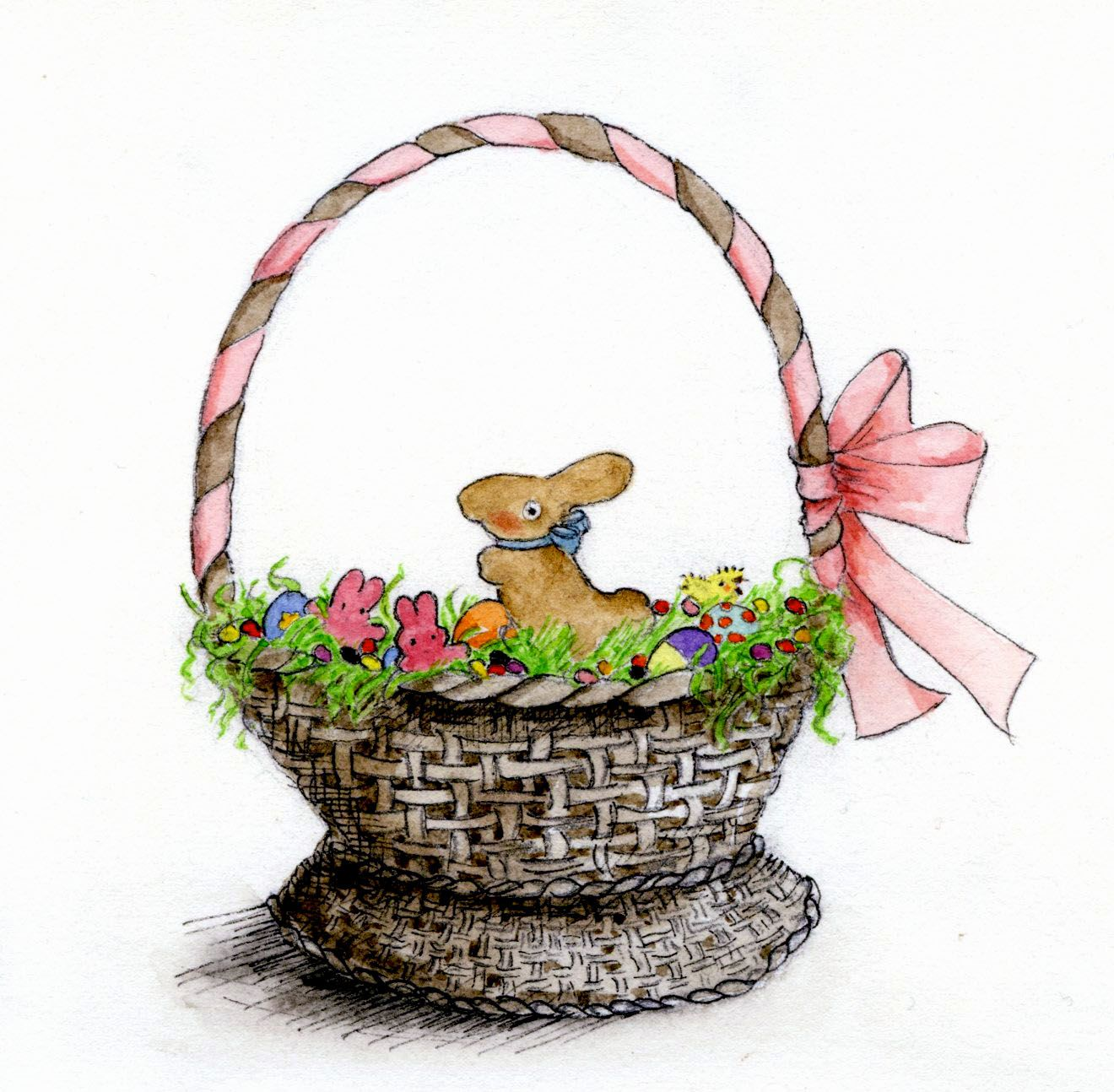 1320x1294 How To Draw And Paint A Treat Filled Easter Basket Filled Easter