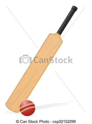 350x470 Cricket Bat And Ball Vector Illustration Isolated On White Eps