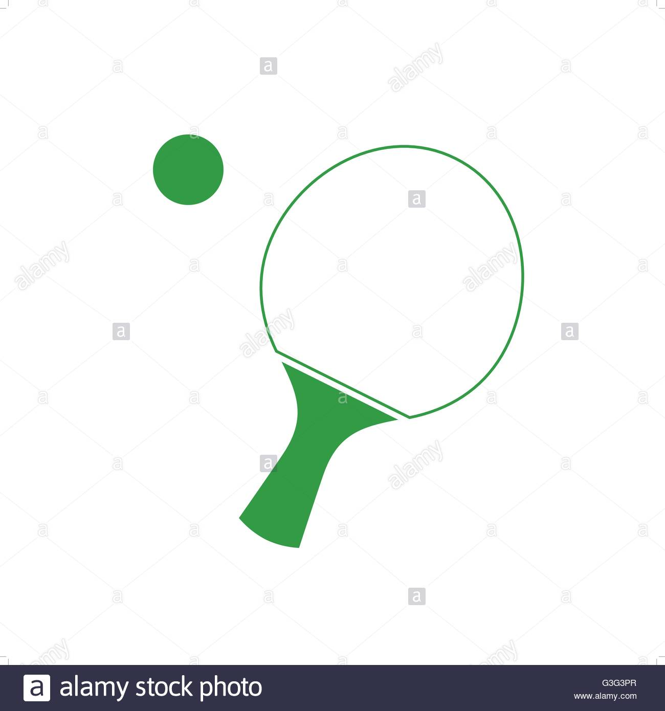 1300x1390 Green Line Drawing Ping Pong Racket Or Tabletennis Bat With Ball