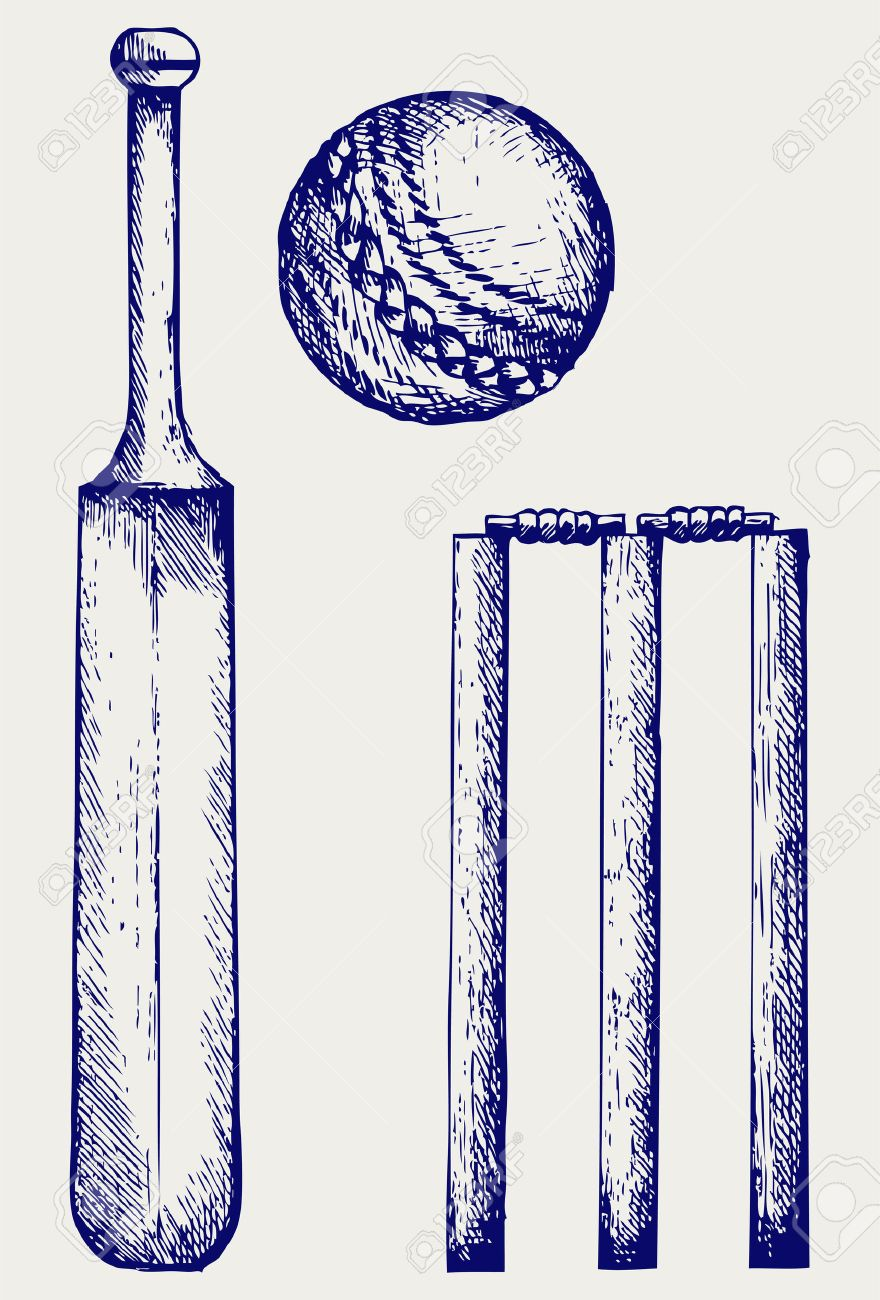 880x1300 Set Equipment For Cricket. Cricket Bat And Ball. Doodle Style