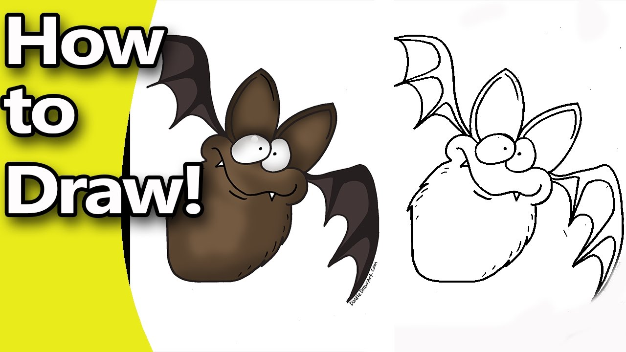1280x720 How To Draw A Cute Cartoon Bat For Halloween Step By Step
