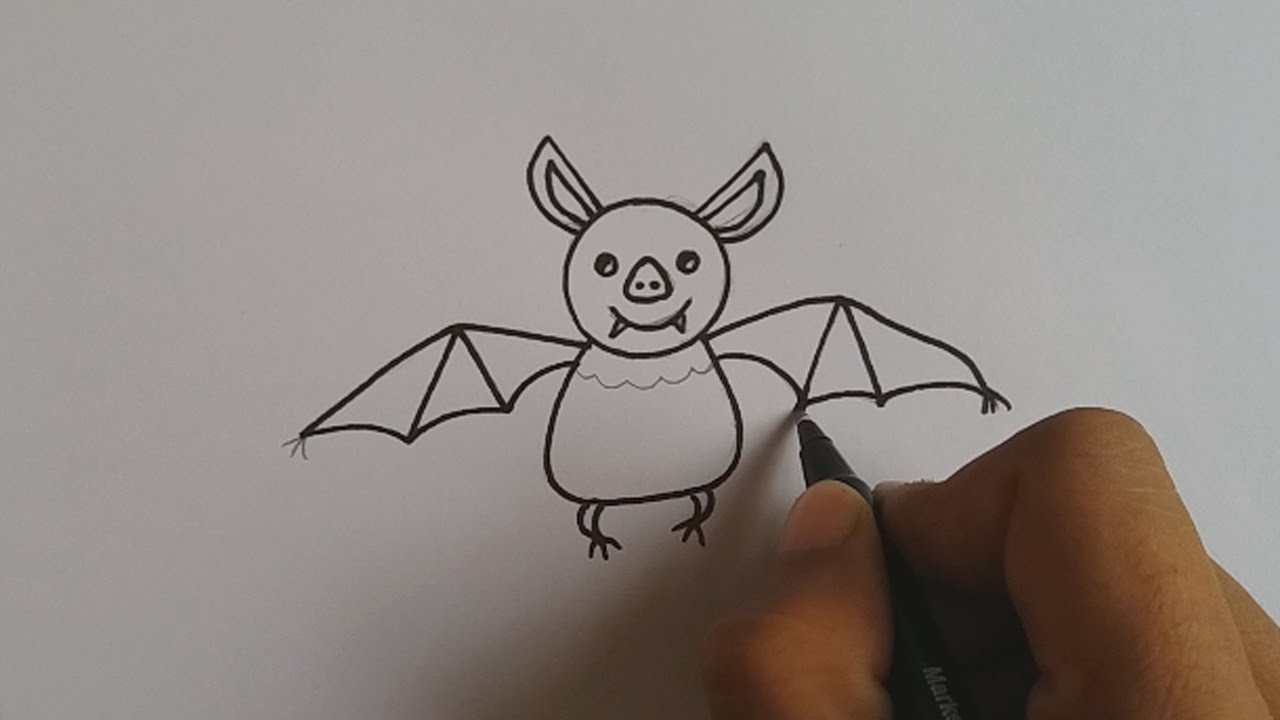 1280x720 How To Draw A Cartoon Bat For Kids Easy And Simple