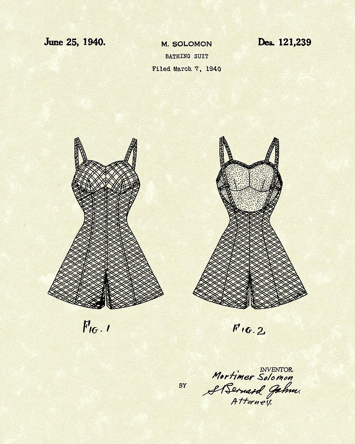 720x900 Bathing Suit 1940 Patent Art Drawing By Prior Art Design