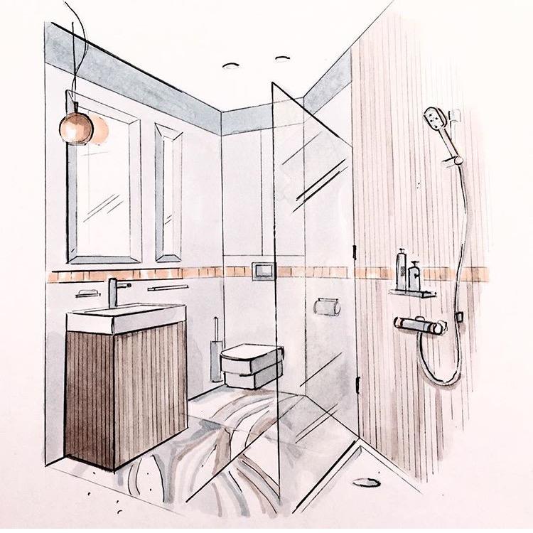 Sketch Bathroom Deccovoiceoverservicesco - Drawing of bathroom