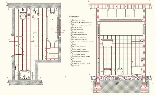 650x400 Section Antique Bathroom Design Drawing