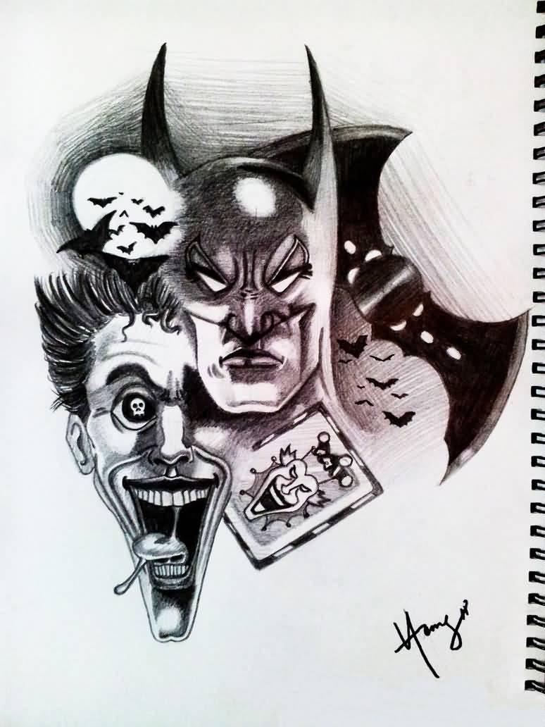 774x1032 Batman And Joker Drawing Batman Joker Tattoo Design Idea