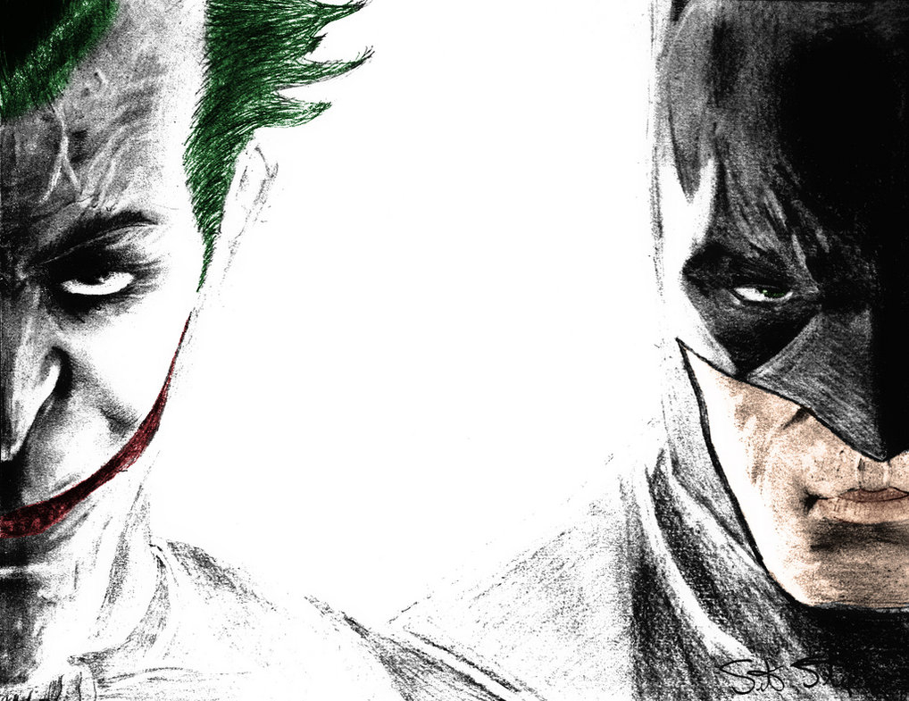 1018x785 Batman And Joker Drawing Joker Batman Drawing By Nsohio44890