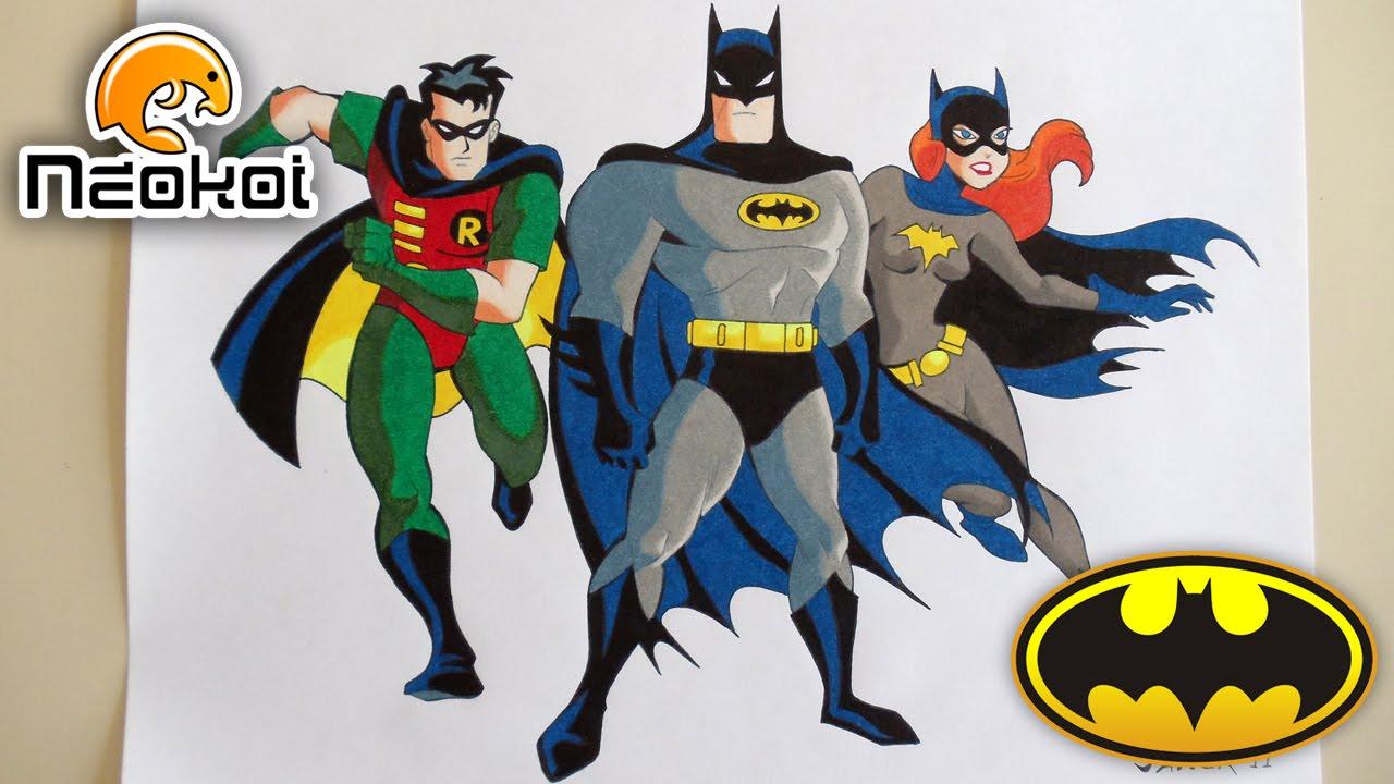 1280x720 Dibujando A Batman, Robin Amp Batgirl Neokoi Comics