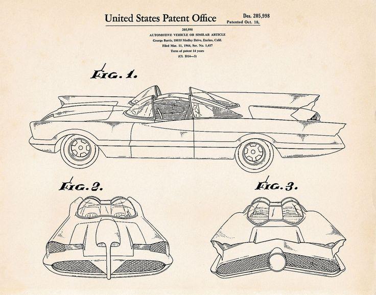 736x578 11 Best Batman And Batmobile Patent Prints Images
