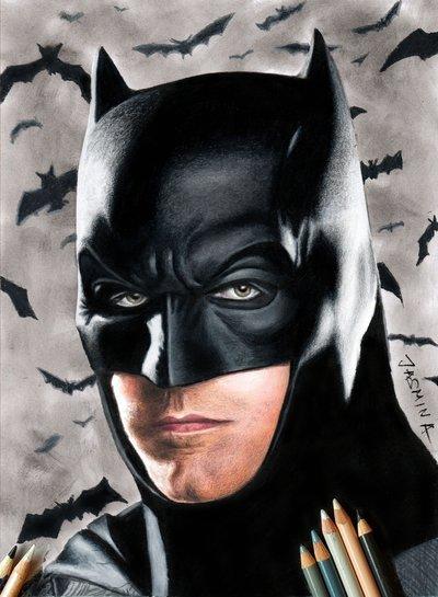 400x545 Colored Pencil Drawing Of Batman Ben Affleck By Jasminasusak