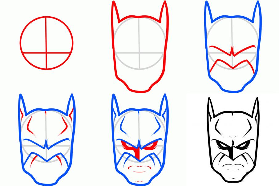 906x604 How To Draw Batman Easy
