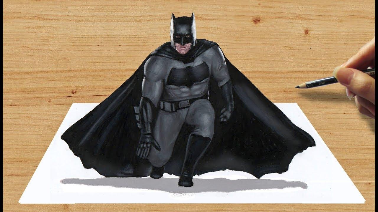 1280x720 3d Pencil Drawing Batman Ben Affleck