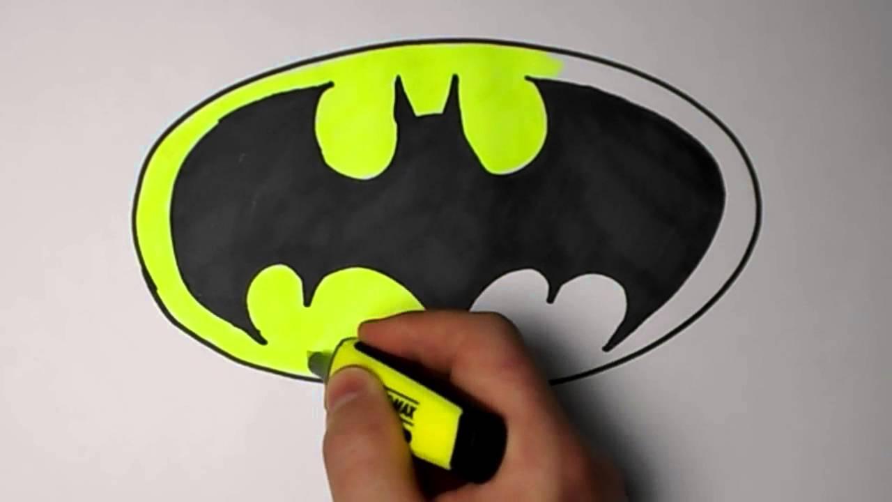 1280x720 How To Draw Batman Logo Easy Amp Fast EUR Mr Cute Cartoon