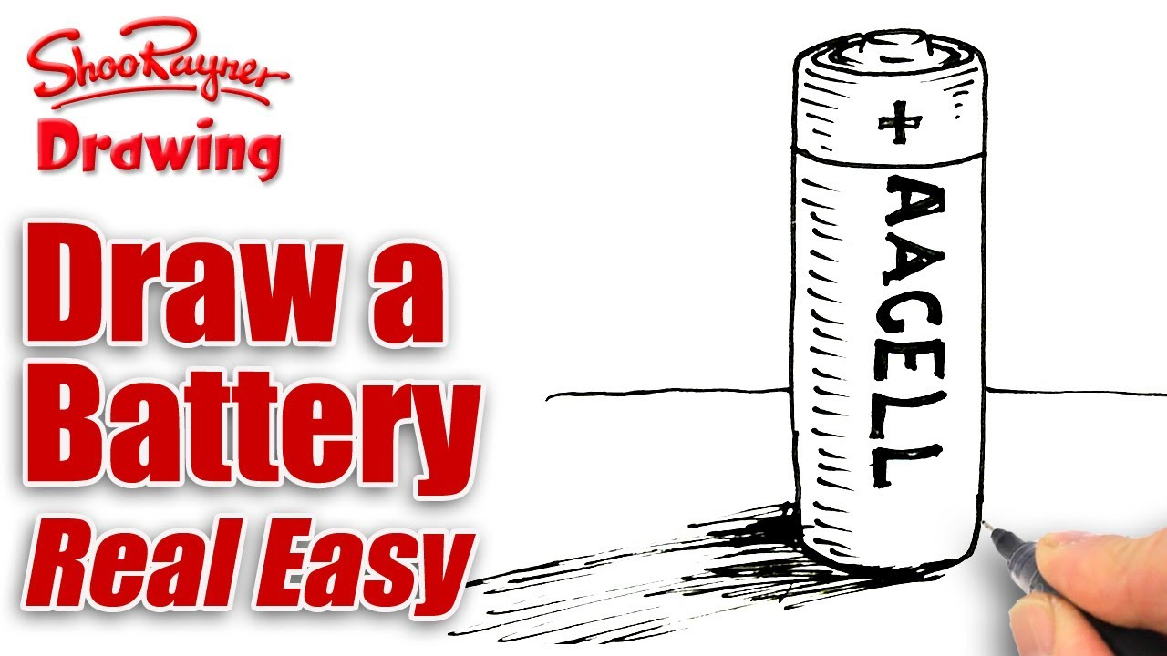 1280x720 How To Draw A Battery Real Easy