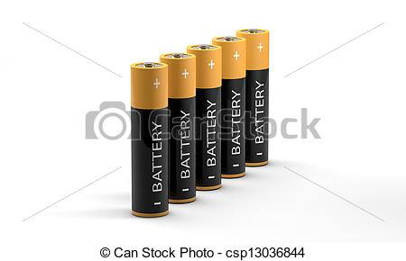 450x290 Row Of Standing Batteries. 3d Battery On White Background