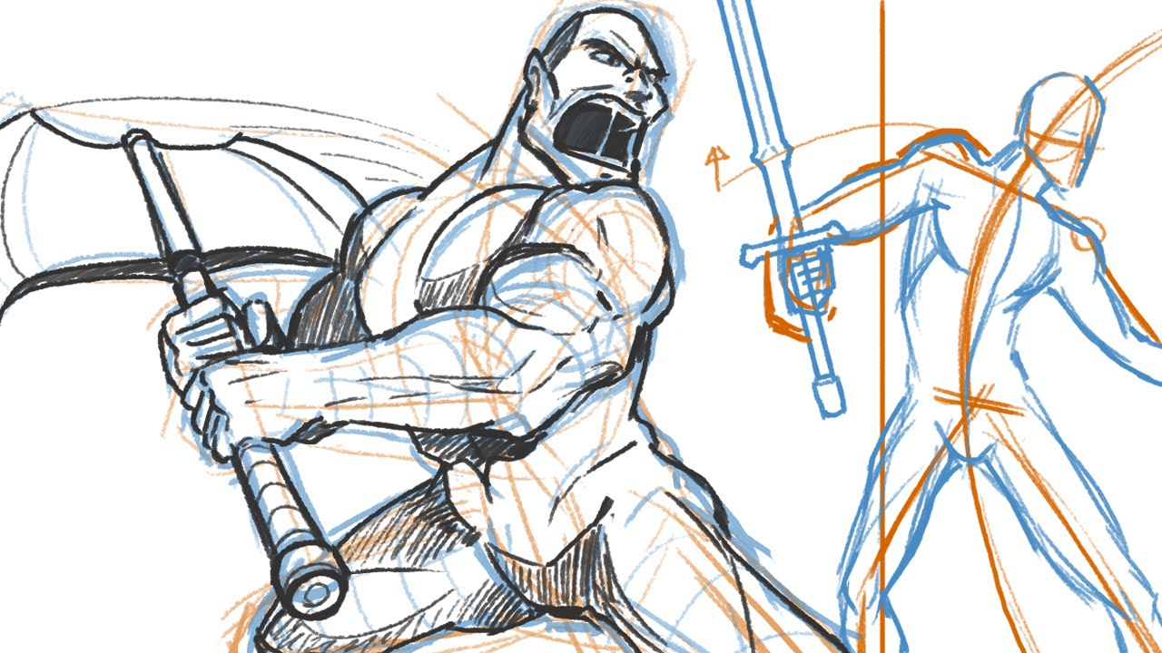 1280x720 How To Draw Fighting With Weapons! (Dramatic Pose Tutorial)