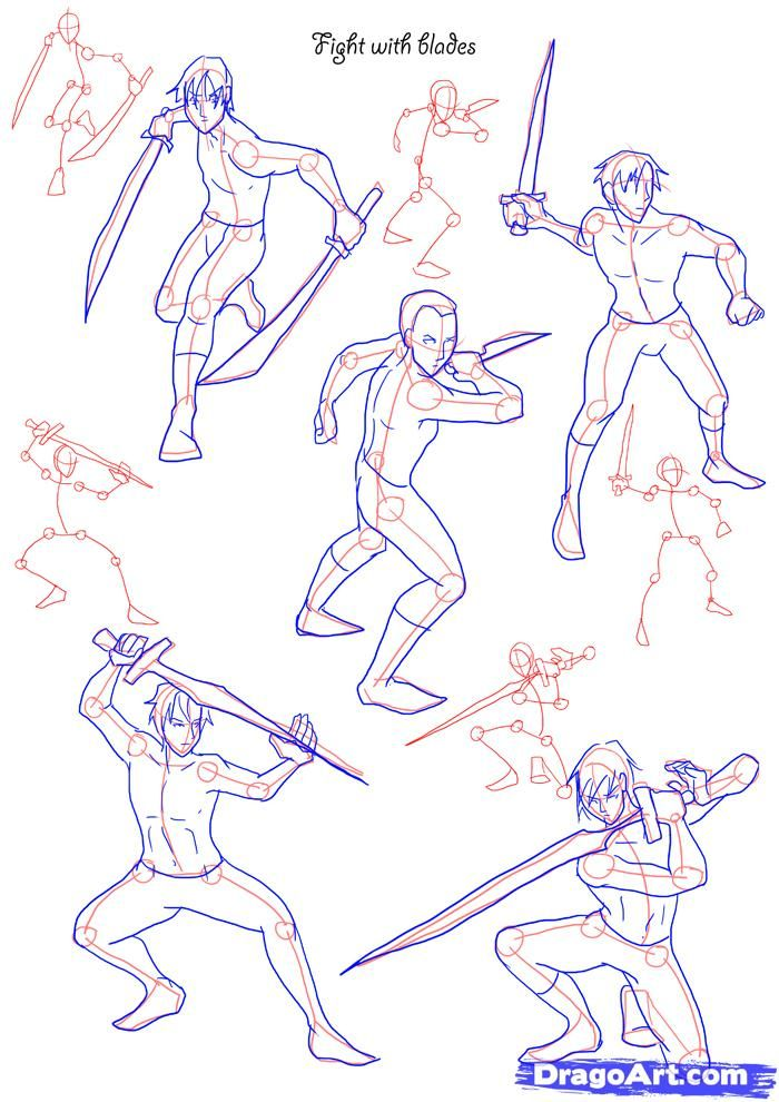 700x990 How To Draw Fighting Poses, Step By Step, Figures, People, Free