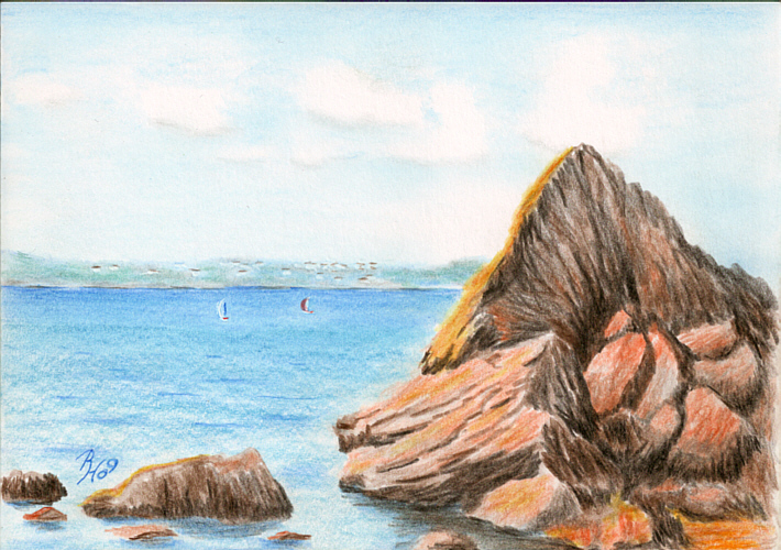 710x500 Pencil Drawing Of Meadfoot Bay, Torquay, Devon, England