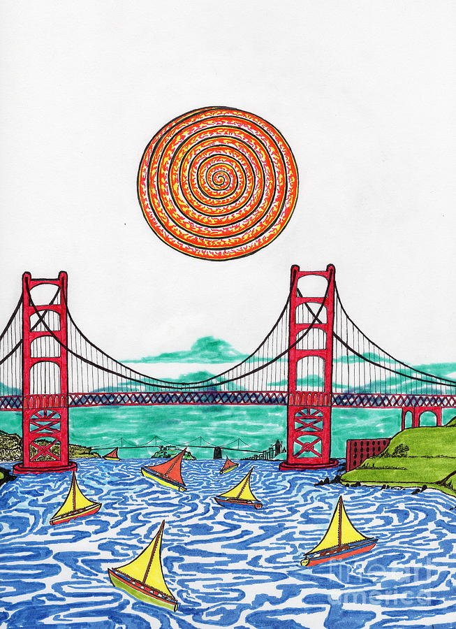 653x900 Sailing On San Francisco Bay Drawing By Michael Friend
