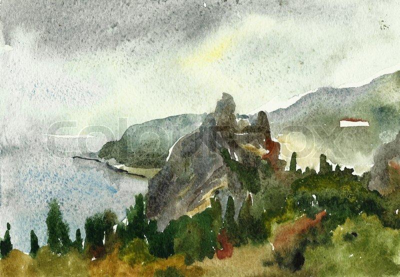 800x554 Watercolor, Plants, Painting, Sea, Nature, Illustration, Blue