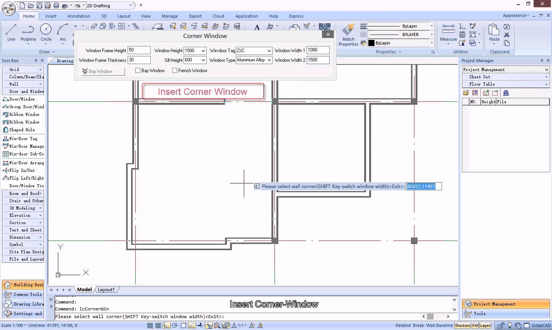 1440x860 Draw Corner Window In Plan Drawing