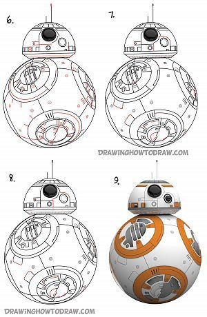 300x460 How To Draw Bb 8 (Beeby Ate) The Ball Droid From Star Wars Step By
