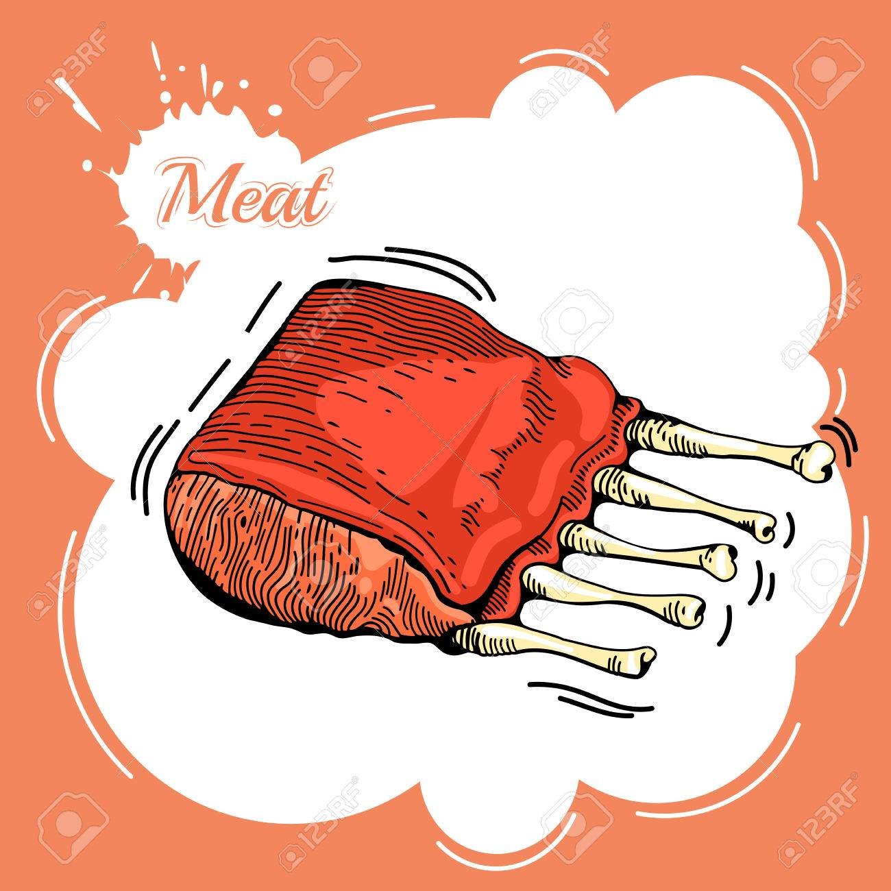 1300x1300 Meat Hand Drawn. Meat Collages. Illustration Of A Steak Meat