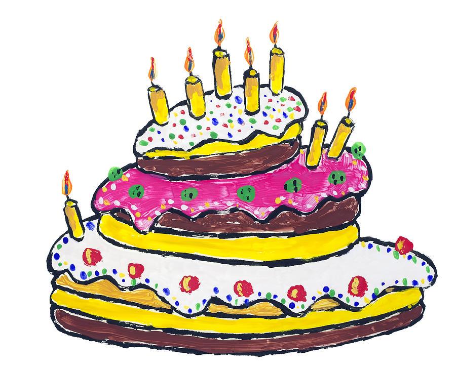 900x731 Big Birthday Cake Drawing By Aleksandr Volkov